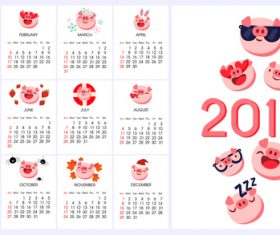 2019 calendar template with cute pig vector 02