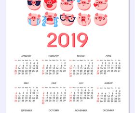 2019 calendar template with cute pig vector 03