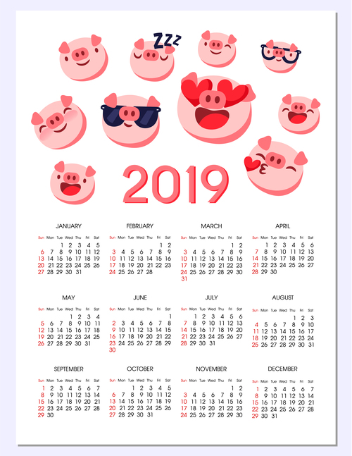 2019 Calendar Template With Cute Pig Vector 04 Free Download