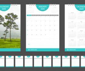2019 company calendar template vector