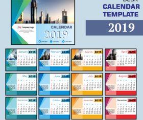 2019 company desk calendar template vector 01
