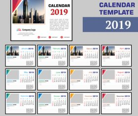 2019 company desk calendar template vector 02