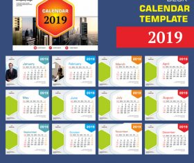 2019 company desk calendar template vector 03