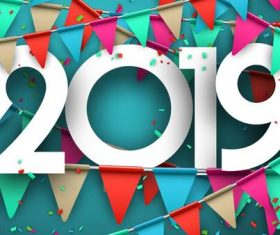 2019 new year background with colored flag vectors