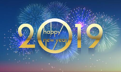 2019 new year background with festvial firework vector free
