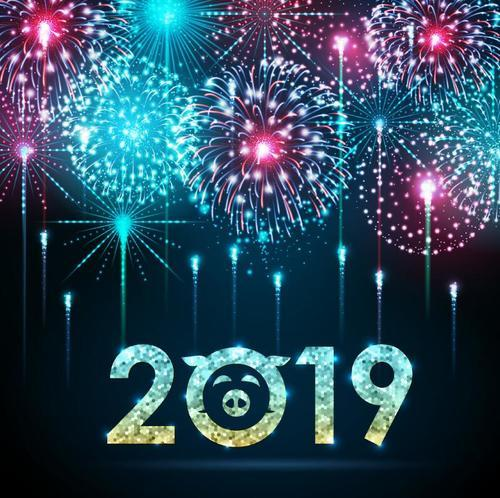 2019 new year background with firework vector free download