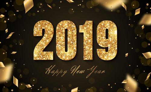 2019 new year background with golden decor vector