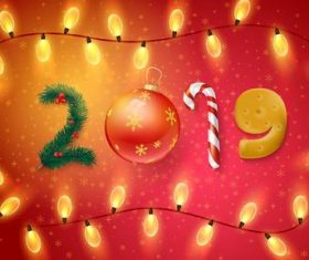 2019 new year background with light bulb frame vector