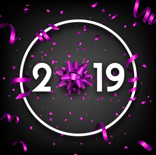 2019 new year background with purple ribbon vector
