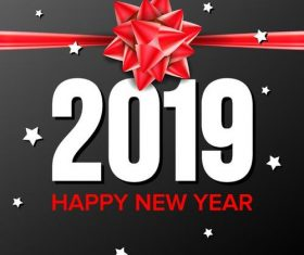 2019 new year background with red ribbon bow vector