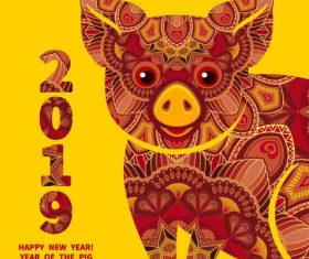 2019 new year design with floral pig vector