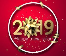 2019 new year design with red background vector