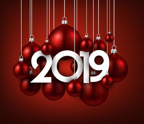Christmas 2019 Images.2019 New Year Red Background With Red Christmas Balls Vector