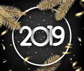 2019 new year with golden ribbon design vector