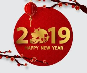 2019 new year with red flower background vector