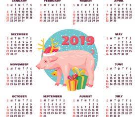 2019 pig year calendar template vector 01
