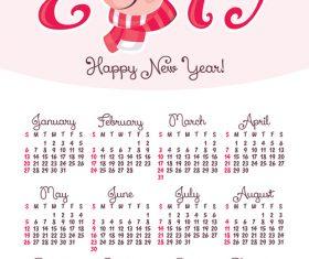 2019 pig year calendar template vector 02