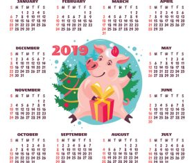 2019 pig year calendar template vector 03