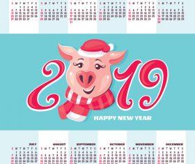 2019 pig year calendar template vector 04