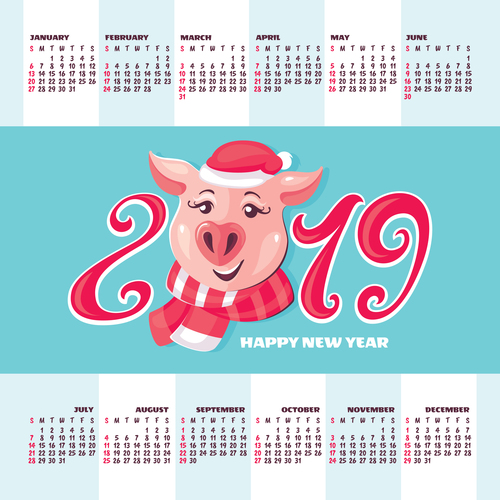 2019 pig year calendar template vector 04