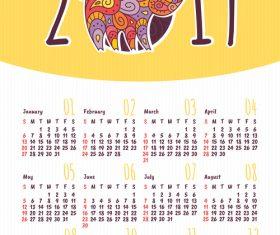2019 pig year calendar template vector 05