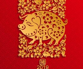 2019 year of the pig red styles vector