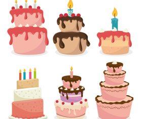 6 Kind retro birthday cake vector material