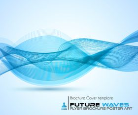 Abtract wave flyer with brochure cover template vector 01