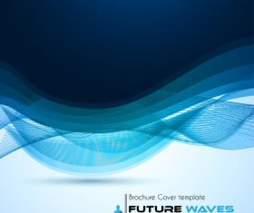 Abtract wave flyer with brochure cover template vector 02
