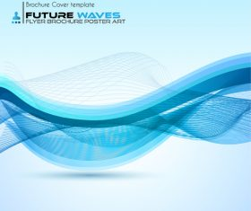 Abtract wave flyer with brochure cover template vector 04