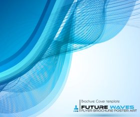 Abtract wave flyer with brochure cover template vector 05