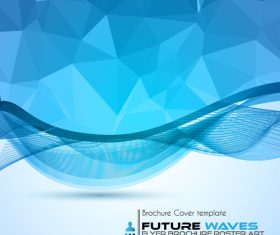 Abtract wave flyer with brochure cover template vector 06