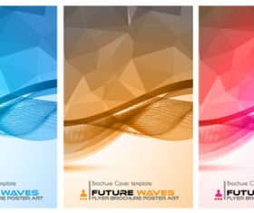 Abtract wave flyer with brochure cover template vector 07