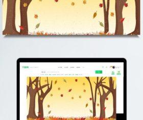 Autumn deciduous forest background illustration design vector