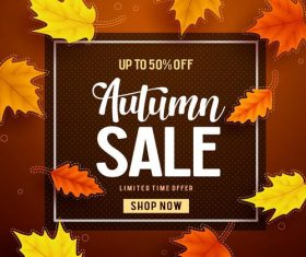 Autumn frame with sale poster vector