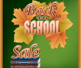 Autumn leaves with back to school background vector 07