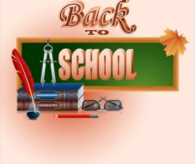 Autumn leaves with back to school background vector 08