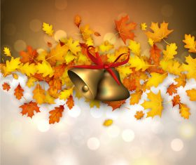 Autumn leaves with bells and abstract background vector