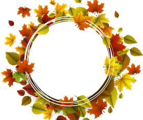 Autumn leaves with cricles background vector 02