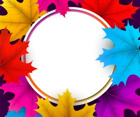 Autumn leaves with cricles background vector 03