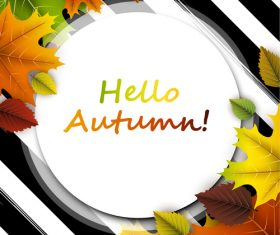 Autumn leaves with cricles background vector 04