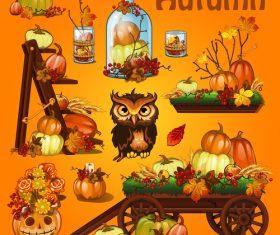 Autumn retro illustration vector material