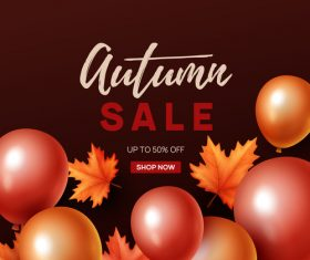 Autumn sale background with balloon vector 01