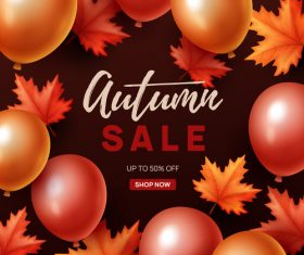 Autumn sale background with balloon vector 02