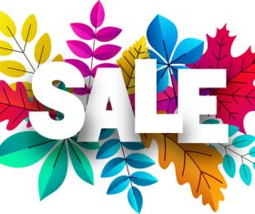 Autumn sale background with colored leaves vector 02