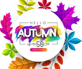 Autumn sale background with colored leaves vector 03