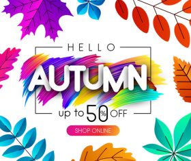 Autumn sale background with colored leaves vector 04