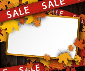 Autumn sale background with ribbon and wood texture vector