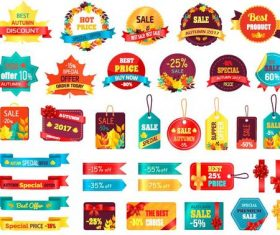 Autumn sale banner with tags and labels vector set