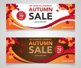 Autumn sale banners template design vector 01